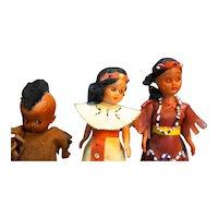 Vintage Hard Plastic Sleep Eyes Native American Dolls Set of 3