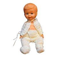 Vintage Small Baby Doll Galba Made in Italy Sleep Eyes Stork Mark
