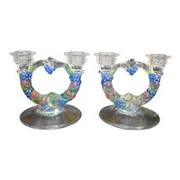 Indiana Glass Garland Banana Fruits Blue Green Stained Candle Holders