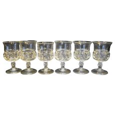 """King's Crown Thumbprint Clear Glass Cordials Set of 6 3 3/4"""""""