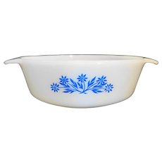 Fire King Blue Cornflower White Milk Glass Round 1 Qt Pan