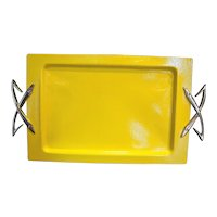 Kromex Yellow Coated Gold Handle Rectangle Tray