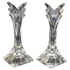 """Mikasa Deco Slovenia Crystal Taper Candle Holders Pair 5"""""""