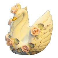 Lefton Swan Trinket Dish Candy Porcelain Applied Roses Japan