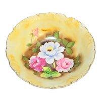 """Enesco Roses Hand Painted 8"""" Bowl E2363 Japan"""