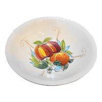 """Hand Painted Apples Ceramic Bowl 9"""" Chase Japan"""