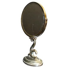 Silverplate Makeup Mirror Tilt Magnifying Double Sided