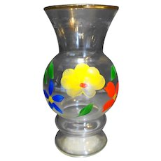 Bartlett Collins Hand Painted Flowers Clear Glass Vase