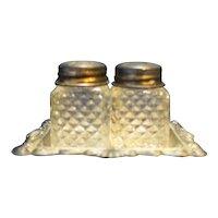 Silverplated Mini Glass Salt Pepper Shakers Tray