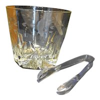 Princess House Heritage Ice Bucket Grey Floral Cut Crystal in Box