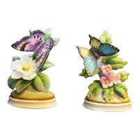 Lefton Butterfly Hand Painted Figurines Pair Blue Purple