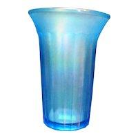 Blue Stretch Glass Ribbed Flared Tumbler Vase