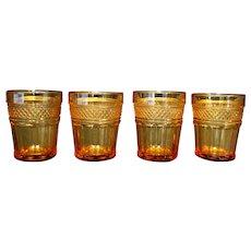 Amber Glass Diamond Point Paneled Shot Glasses Set of 4
