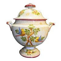 Meiselman Imports Made In Italy Hand Painted Birds Soup Tureen