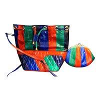 Jewel Tone Stripes Eelskin Bucket Purse Coin Purse Combo