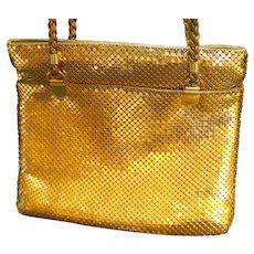 Y&S Gold Metal Mesh Shoulder Bag Large