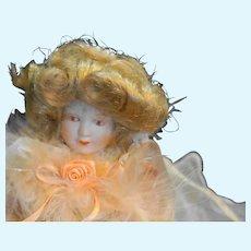Porcelain Half Doll Blond Peach Organza Skirts Tabletop