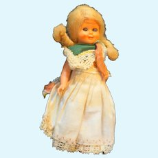 Milo Made in Italy Small Plastic Doll Blond Braids Sleep Eyes