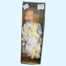 "Porcelain Doll Blond 8"" Beachwood Ltd 1990 Fabri-Centers Made in Taiwan"
