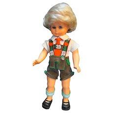 """Hans Volk German Boy Doll Lederhosen 11"""" Blond Sleep Eyes"""