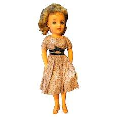 Ideal Miss Revlon VT-18 Pink Gray Print Dress Twist Waist 1957