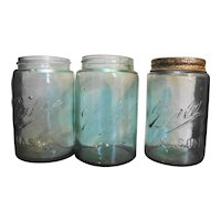 Ball Mason Aqua Pint Jars Set of 3 1900-1910
