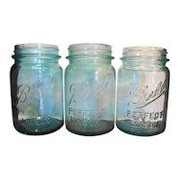 Ball Perfect Mason Aqua Pint Canning Jars Set of 3  1910-1933