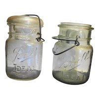 Ball Ideal Clear Glass Pint Jars Group of 3 Slightly Different