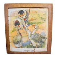 Vintage Wood Puzzles Child's Puppies Cat Birds Set of 4