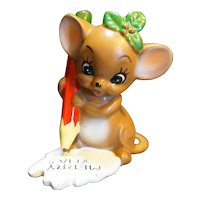 Merry Christmas Mouse Figurine Hand Painted