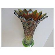 Northwood Diamond Point Carnival Glass Vase