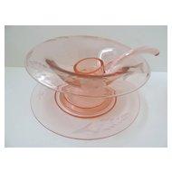 Pink Glass Mayonnaise Set