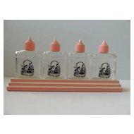 4 Bottle Perfume Lotion Dresser Vanity Set In Stand