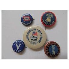 5 Vintage Pin Backs For War Bonds Savings And Liberty Loans