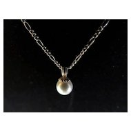 14K Gold Simulated Pearl Necklace