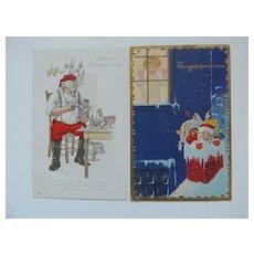 2 Santa Theme Christmas Postcards