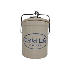 Advertising Stoneware Crock Child Life Shoes