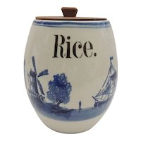 Germany Blue Delft Rice Canister