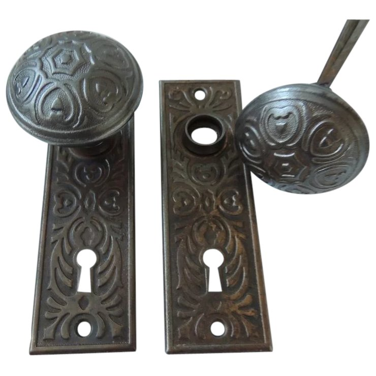 Antique Door Knobs With Back Plates - Antique Door Knobs With Back Plates SOLD Ruby Lane