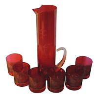 Etched Glass Bar Ware Set