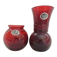 2 Anchor Hocking Royal Ruby Red Vases