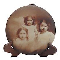 Vintage Tin Portrait Photo Button