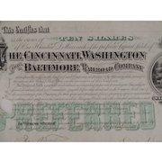 Stock Certificate Cincinnati Washington and Baltimore Railroad