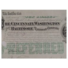 Stock Certificate Cincinnati Washington and Baltimore Railroad