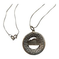 Sterling Silver Greek Parthenon Pendant Necklace
