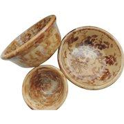 3 Vintage Spongeware Bowls Yellow ware