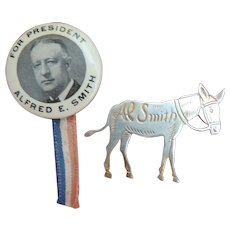 2 Alfred Smith For President Political Campaign pins