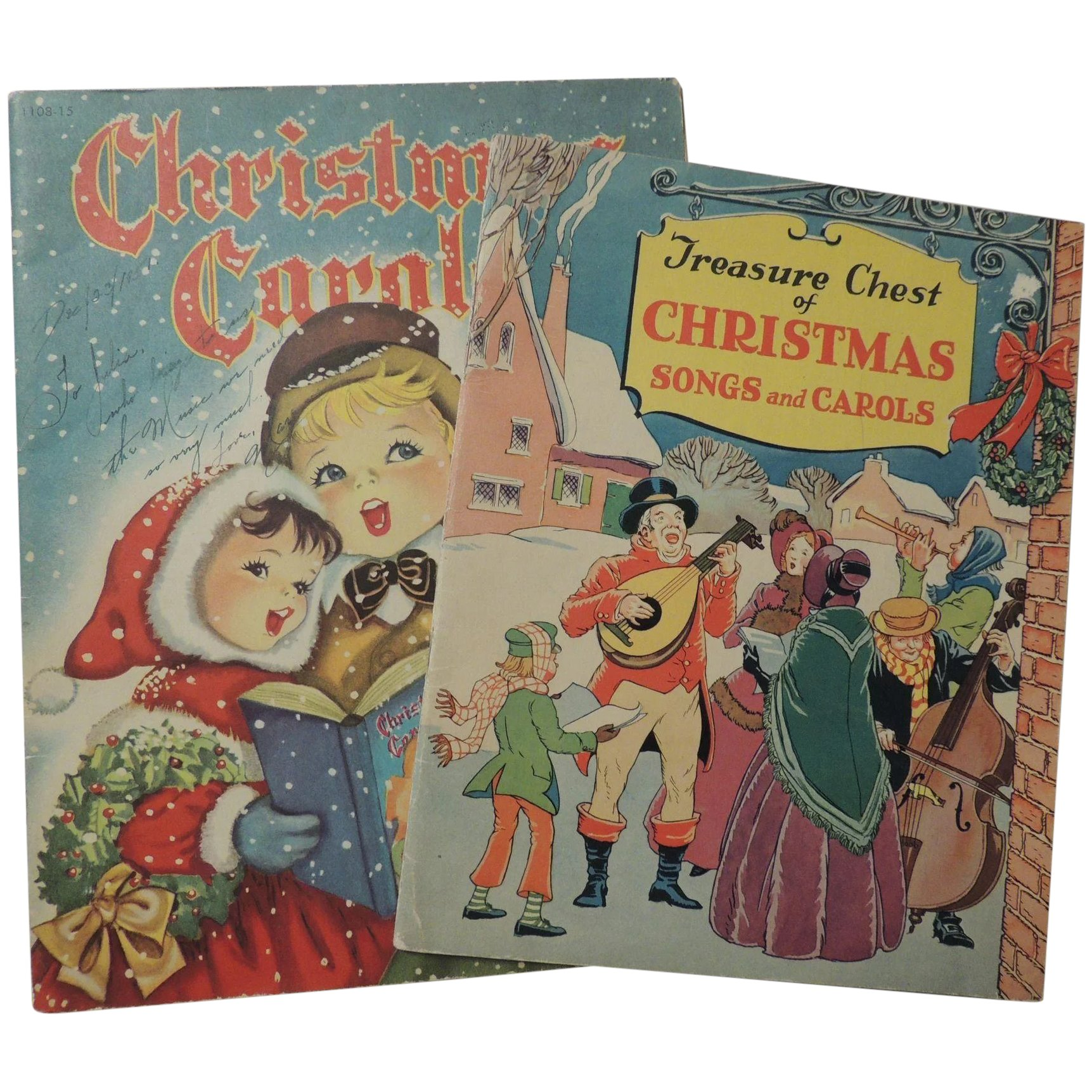 Vintage Christmas Carols Music Books Hand To Heart Antiques