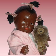 """1930's African American - 10""""Composition Patsy Type Baby Doll"""