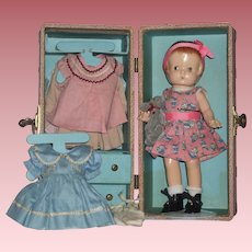 """11"""" Effanbee Patsy Doll With Trunk & Accessories"""